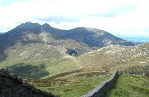 The Mournes and the wall.